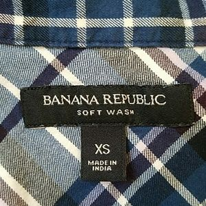 Banana Republic Tops - Banana Republic Shirt XS  Blue Western Plaid